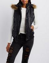 Charlotte Russe Faux-Fur Trim Hooded Puffer Vest
