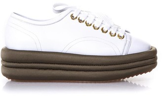 Marc Ellis Diva White Leather & Military Platform Sneakers