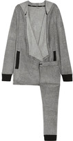DKNY Stretch Loungers Brushed-jersey Cardigan And Leggings Set - Gray