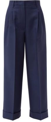 Fendi Turn-up Cuff Mohair-blend Trousers - Womens - Blue