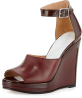 Maison Margiela Leather Ankle-Wrap 105mm Wedge Sandal, Bordeaux