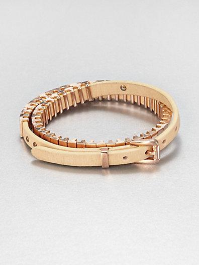 Michael Kors Leather Double-Wrap Bracelet/Rose
