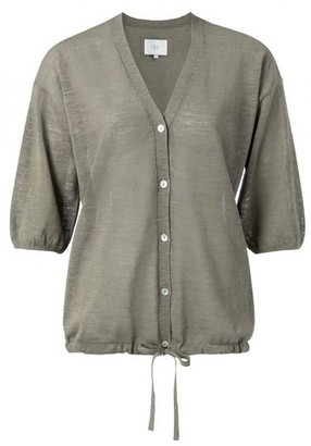Ya-Ya Cotton Linen Blend Cardigan With Drawstring - L