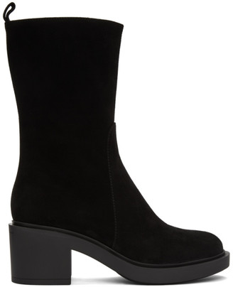 Gianvito Rossi Black Suede Slip-On Mid-Calf Boots