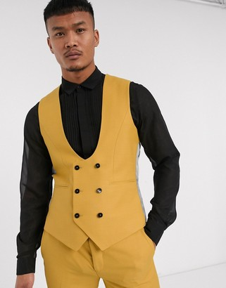 Twisted Tailor Hemmingway suit vest in dark yellow