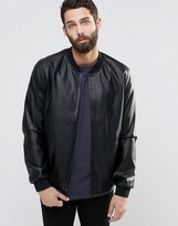 ONLY & SONS Faux Leather Bomber Jacket