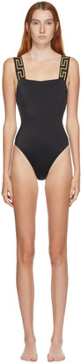 Versace Underwear Black Square Neck One-Piece Swimsuit