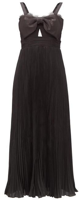 Self-Portrait Satin-bow Pleated Crepe Midi Dress - Black