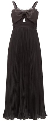 Self-Portrait Satin-bow Pleated Crepe Midi Dress - Black