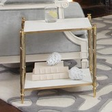 The Well Appointed House Global Views Arbor Two-Tier Side Table in Brass with White Marble Tops
