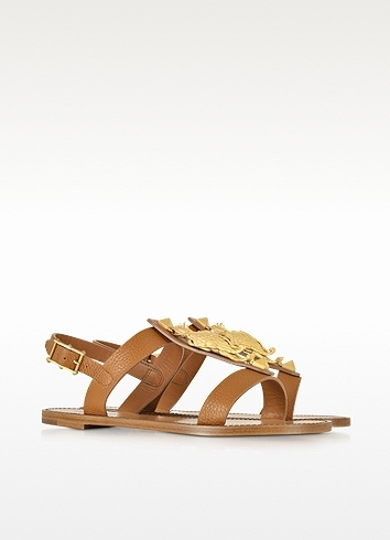Valentino Gryphon Leather Flat Sandals