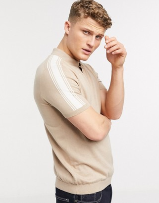 Topman knitted polo with shoulder stripe in stone