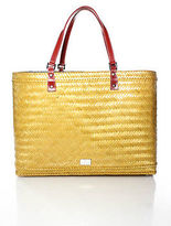Rafe New York Tan Straw Structured Beach Tote Handbag