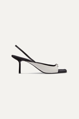 The Row Two-tone Leather Slingback Sandals - White