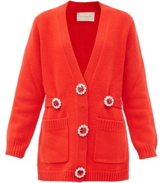 Christopher Kane Oversized Crystal-flower Wool Cardigan - Red