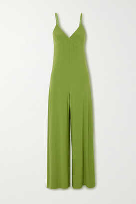 Norma Kamali Stretch-jersey Wide-leg Jumpsuit - Forest green