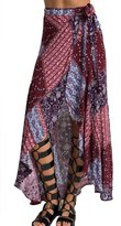 LETSQK Women's Asymmetrical Hi-low Printed Maxi Long A-line Maxi skirt L