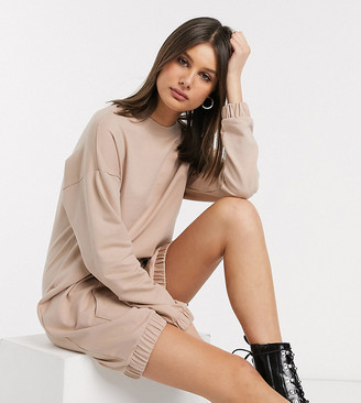 Asos Tall ASOS DESIGN Tall hoodie sweat dress with front pocket in beige