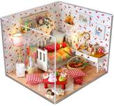 Per Dollhouse Miniature DIY House Kit Cute Room With Furnitiure Creative Gift Assembled Birthday Christmas Gift LED Lights + Battery Box Switch + Dust Cover