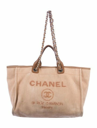 Chanel Large Deauville Shopping Tote silver