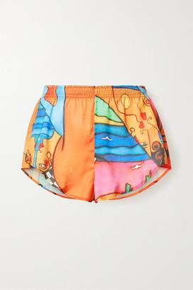 Esteban Cortazar Printed Crepe De Chine Shorts - Orange