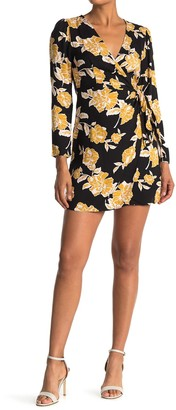 Lush Floral Long Sleeve Wrap Mini Dress