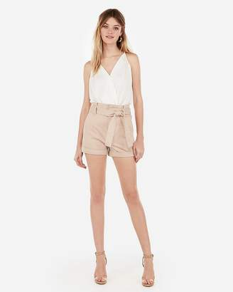 Express Super High Waisted Sash Tie Stretch+ Twill Shorts