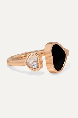 Chopard Happy Hearts 18-karat Rose Gold, Diamond And Onyx Ring