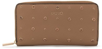 Liu Jo crystal-embellished branded wallet