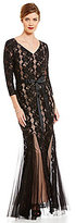 Alex Evenings V-Neck 3/4-Sleeve Illusion Lace Satin Tie-Belt Gown