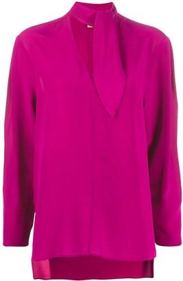 Nude silk tie-neck blouse