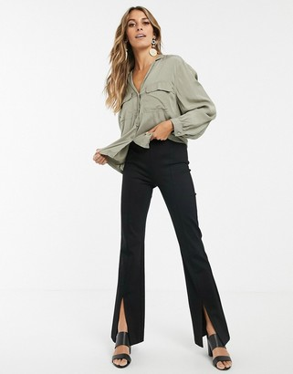 And other stories & split hem flared pants in black