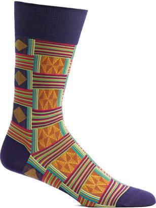 Ozone Men's Socks VL - Violet & Orange Sahara Patchwork Socks - Men