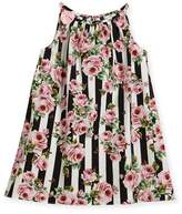 Dolce & Gabbana Poplin Stripe Floral Dress, Size 2-6