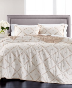 Martha Stewart Collection Honey Bee Embroidery Reversible Twin/Twin Xl Quilt, Created for Macy's