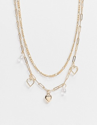 Topshop multirow necklace with snake chain and heart pendants in gold