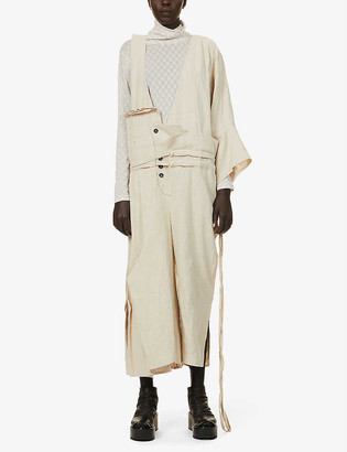 Nomad Goba One-sleeve wide-leg hemp dungarees
