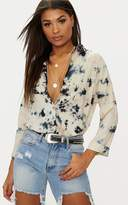 PrettyLittleThing Brown Acid Wash Shirt