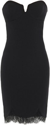 Just Cavalli Strapless Chantilly Lace-trimmed Crepe Mini Dress
