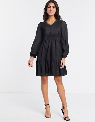Y.A.S cotton smock dress with pintuck detail in black