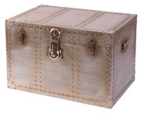 Vintiquewise Industrial Wooden Aluminum Storage Trunk with Lockable Latches, Medium