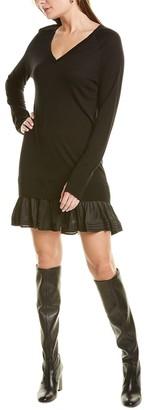 Halston V-Neck Silk & Wool-Blend Sweaterdress
