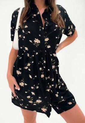Missguided Black Floral Print Shirt Smock Dress
