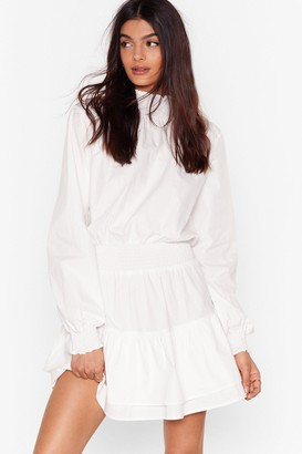 Nasty Gal Womens Frill I Found You High Neck Mini Dress - White - 4