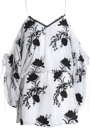 Alice + Olivia Cold-shoulder Gathered Embroidered Gauze Tunic