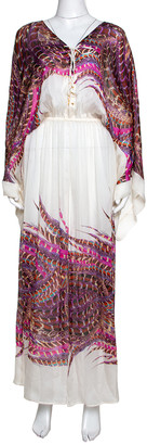 Roberto Cavalli White & Pink Feather Printed Silk Maxi Kaftan Dress M