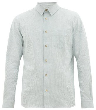 A.P.C. Striped Cotton-blend Seersucker Shirt - Mens - White Green