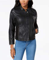Style&Co. Style & Co Faux-Leather Knit-Contrast Jacket, Created for Macy's