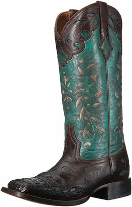 Lucchese Bootmaker Women's Sherilyn Western Boot Chocolate/Turquoise 7.5 C US