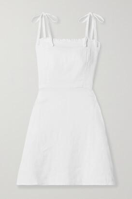 HONORINE Poppy Ruffled Linen Mini Dress - White
